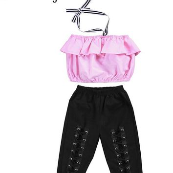 Hot Toddler Kids Girls Off Shoulder Halter Tops Blouse Elastic Pants Outfits Set Summer Girls Clothes 1-6Yrs