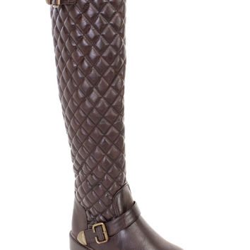 Brown Quilted Buckle Strappy Riding Boots Faux Leather