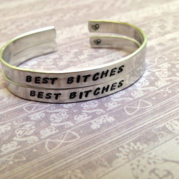 Best Bitches Hand Stamped Aluminum Cuff Bracelets- Set of 2 Bracelets