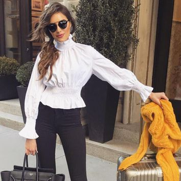 Women Casual Simple Solid Color Shrinkage Turtleneck Long Sleeve Chiffon Shirt Tops