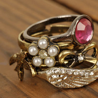 Gem, Bow, Bird, Flower, Wing 5pc Ring