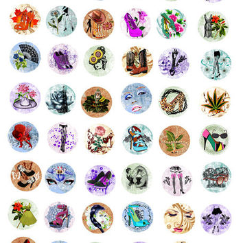 flowers and fashion 1 INCH circles Digital Download Collage Sheet beauty makeup high heel shoe clipart graphic images