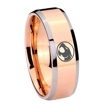 8MM Rose Gold Thundercats Bevel Edges 2 Tone Tungsten laser Engraved Ring