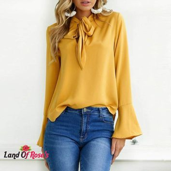 Plus-Size Long Flare Sleeve Women Blouse Fashion Lace-Up Bow Tie Work Office Ladies Shirts Tops