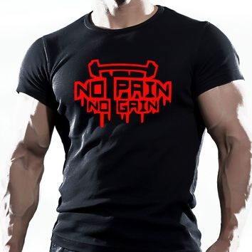 NO PAIN NO GAIN - Gym T-shirt - Fitness Tee