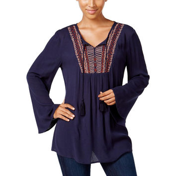 Style & Co. Womens Ebmroidered Long Sleeves Peasant Top