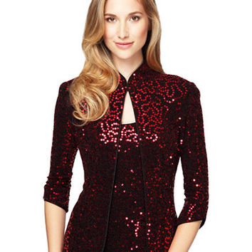 Alex Evenings Sequined Mandarin Jacket and Tank Set