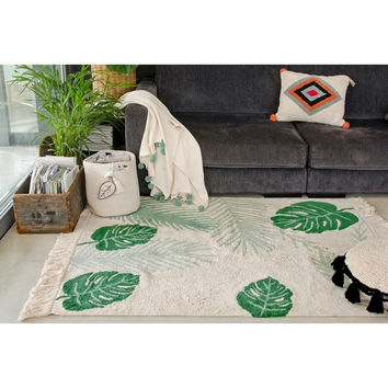Tropical Green Washable Cotton Rug