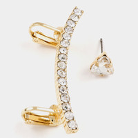 Crystal Lined Ear Cuff Post Earring (more colors)