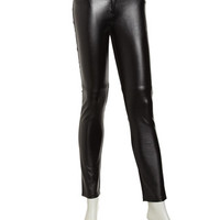 Leather/Ponte Pants, Black