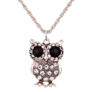 Yaizlind Jewelry Black Eye Tibetan Silver Carve Full Crystal Owl Chain Pendant Necklace Clothes for Women (Color: Ivory) = 1946123972