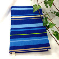 Blue Handbound Journal, Hardback Handsewn Blue Striped Sketchbook