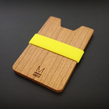 Thin wallet for teens /  Lemon color band with Cherry wood plate / Light wallet, simple wallet /
