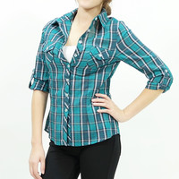 Green plaid button-up woven shirt