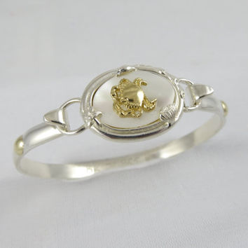 Cape Cod Convertible Crab Bracelet, Sterling Silver with 14k Gold Accents
