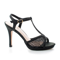 Marcie28 Black Lace by Blossom, Lace & Rhinestone T-Strap Sling back Stiletto Dress Sandals