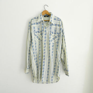 "Western cowboy shirt / Western wear blue floral folk vintage / Long sleeve button down / Rodeo shirt / Size XL ""Extra tall man"""