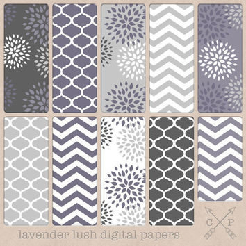 Grey and lavender Digital paper pack. Quatrefoil, Chevron and modern flowers for scrapbooking, graphic design, blog backgrounds etc