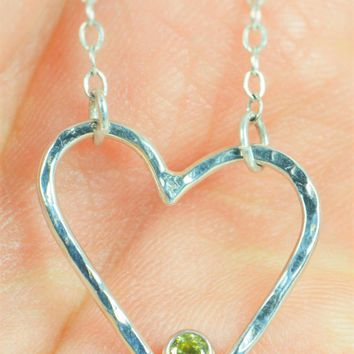 Sterling Silver Topaz Heart Necklace