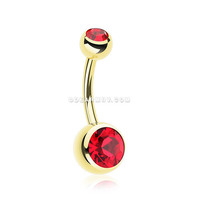 Gold PVD Double Gem Ball Steel Belly Button Ring (Red)