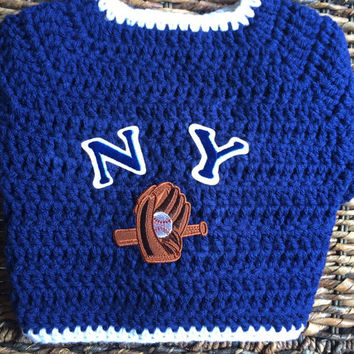 New York Yankees Crochet Baby Sweater Jacket Copy