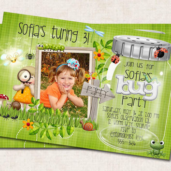 BUGS Birthday Party Invitation, butterflies, bugs, snails worms,  green, (Digital)