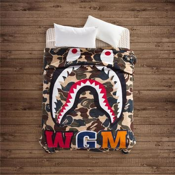 Winter Super Soft WGM Shark Blanket Supreme Fleece Blankets A Bathing Ape Bape Coral B