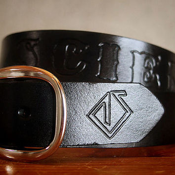 "1 1/2"" Black Custom Solid Letter Leather Name Belt, Personalized With Anything"