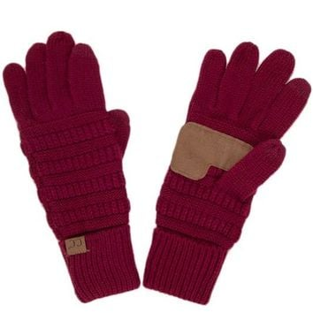 Burgundy CC Smart Touch Gloves