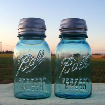 Set of 2 Vintage Blue Ball Perfect Mason Jar by CreativeCorksNMore