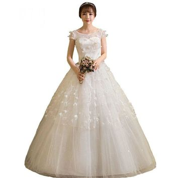 White Lace Appliques Wedding dress Spring Cap Sleeve Bride Gown