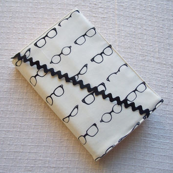 Large Size Fabric Paperback Book Cover with Bookmark, White & Black Book Cover,  Eyeglass Fabric,  For the Book Lover, Book Cover