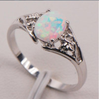 White Fire Opal 925 Sterling Silver Ring [6240897732]