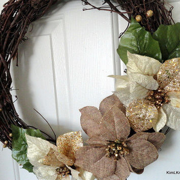 Gold Grapevine Wreath, Poinsettia Wreath, Winter Wreath, Wreath, Grapevine Wreath, Home Decor, Holiday Wreath, Year Round Wreath, Door Decor
