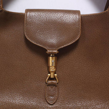 Authentic 80s GUCCI PURSE / 1980s Brown Leather Jackie Piston Lock Hobo Shoulder Bag