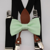 Boys Mint Green Cotton Clip On Bow Tie and Black Elastic Suspenders - Youth 7-14 Years Bowtie