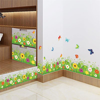 colorful flowers butterflies fences baseboard wall decals home decorative stickers living bedroom mural art diy 3d posters 049.
