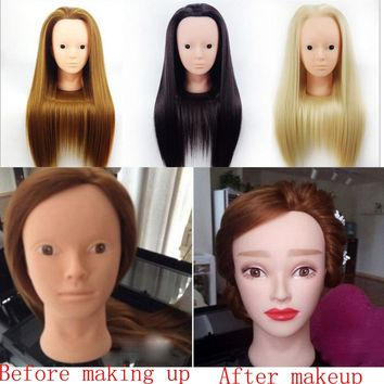 Practice Make Up Model Salon Cosmetology Hair Hairdressing Training Head With Hair Wig Mannequin Heads + Clamp Holder