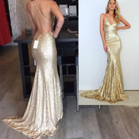 V Neck Long Gold Sequin Prom Dress Backless Formal Occasion Event Dress