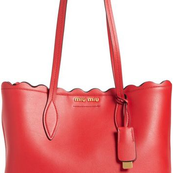 Miu Miu Small Wave Calfskin Leather Shopper | Nordstrom