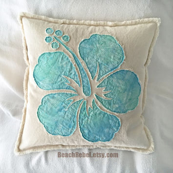 Hibiscus flower pillow cover in aqua batik and natural distressed denim boho pillow cover 18""