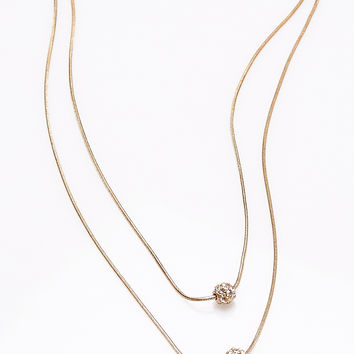 Rhinestone Fireball Double Layer Necklace | Wet Seal