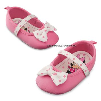 Licensed cool Minnie Mouse Pink Polka Dot with Bow COSTUME BABY Dress Up SHOES Disney Store