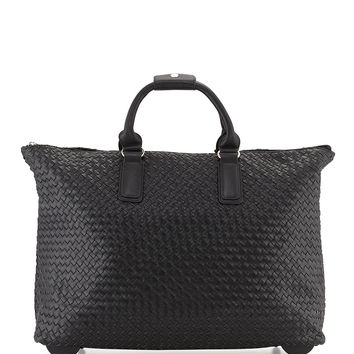 """THE LANEY"" Black Woven Rolling Duffle Weekender Bag"