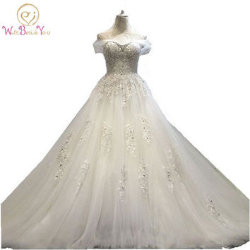 100% Real Photo vestido de noiva princesa Wedding Dress Lace Beaded  Bridal Gowns with Train 2017 Stock Cheap Wedding Dresses
