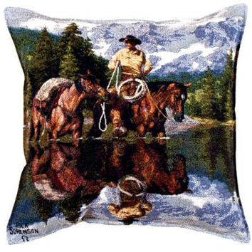 Cowboy And Horses Throw Pillow - Spot Clean