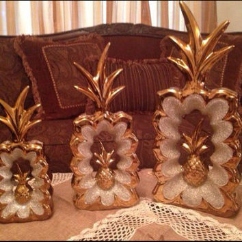 Vintage Pineapple Decor Set of Three New with Box