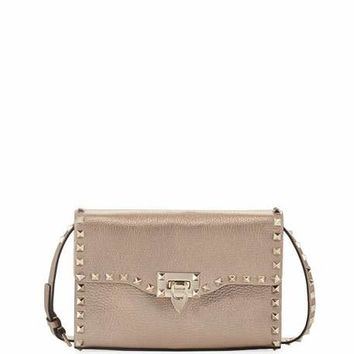 Valentino Rockstud Medium Crinkled Shoulder Bag