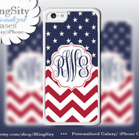 Monogram Stars Chevrons iPhone 5 Case, Red White Blue America iPhone 5C Case, iPhone 4 Ipod 4 5  Case Cover Personalized Gift