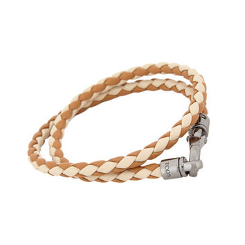 Two-Tone Leather Woven Bracelet By Tod's
